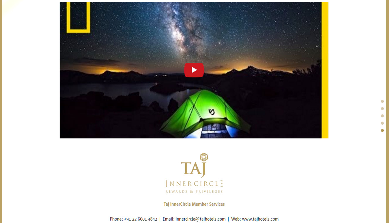 Taj Hotels Loyalty Website
